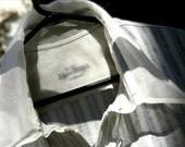Designer OOAK cotton men shirt with long sleeves - Light Grey / Ivory
