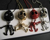 Jack Skellington Nightmare Before Christmas Charm Pendant Necklace Gold, Red, Black, or Silver Choice of 1