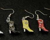 Cowboy Boots Earrings Choice of Blue, White, Red, Yellow, or Black Boots crystal earrings (1 pair only-Choose color) SALE