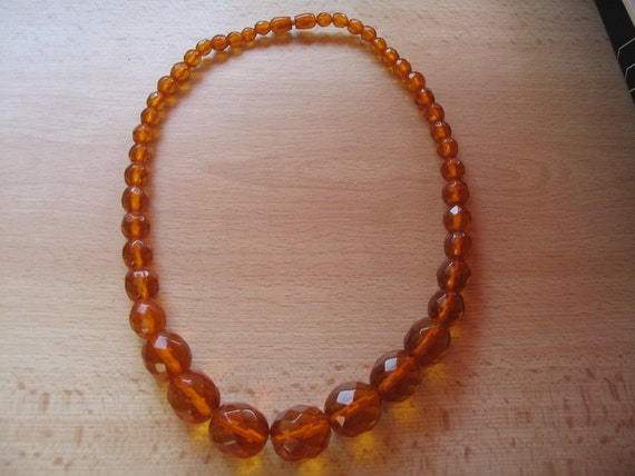 Antique faceted natural Baltic honey amber necklace