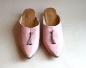 Pink Leather Moroccan Slippers With Tassel