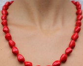 Beautiful Vintage Red Opaque Glass Beads Necklace