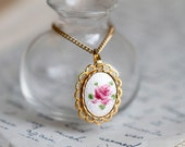 Bring Back Spring Pink Rose Cameo - Pendant and Necklace