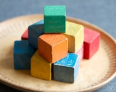 Vintage Wooden Colorful Blocks - Set of 12 in Red Blue Yellow Green and Orange
