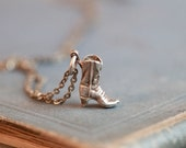 Tiny Weenie Cowboy Boot Sterling Silver Pendant on a Chain - Necklace