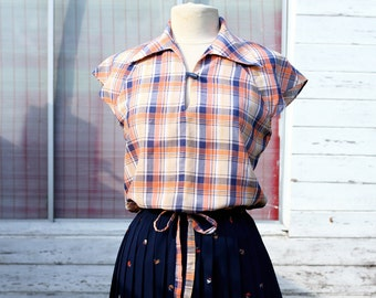 Checkered Summer Blouse - Navy Blue Salmon and Yellow with Bow - St Michael