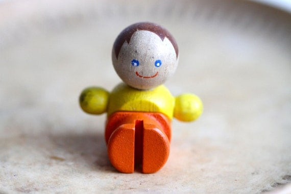 Vintage Small Wooden Toy - Happy Child Colorful Figurine