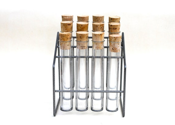 Test Tube Metal Rack with 12 Clear Glass Test Tubes with Cork