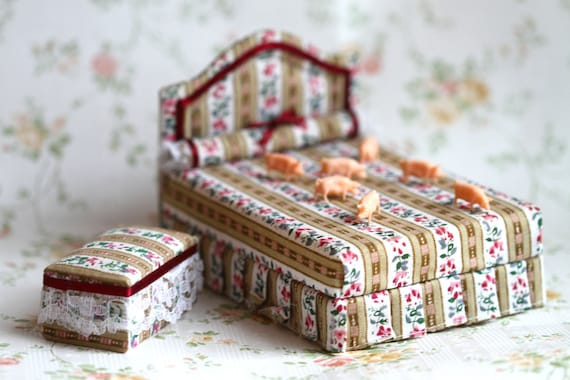 Victorian Dollhouse Miniature - Bed and Stool