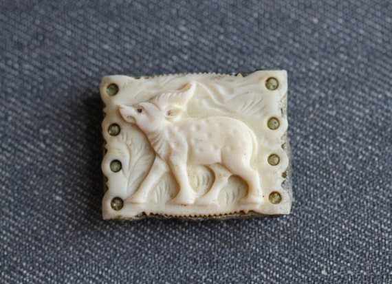 Antique Little Deer - Carved Bone Small Sculpture Mounted on Stone - Paper Weight