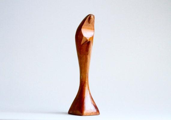 Minimalist Madonna Wooden Sculpture - Mary Stylized Figure