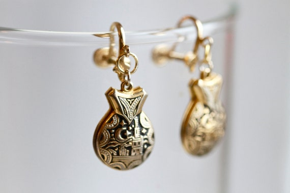 Spanish Damascene Castanets - Clip on Unusual Dangly Earrings