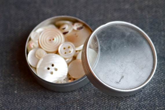 Small Tin Box with Window and Mother of Pearl Buttons 57 - Trinket Box