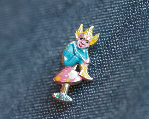 Antique Tiny Pixie Sitting on a Mushroom Brooch - Colorful Elf