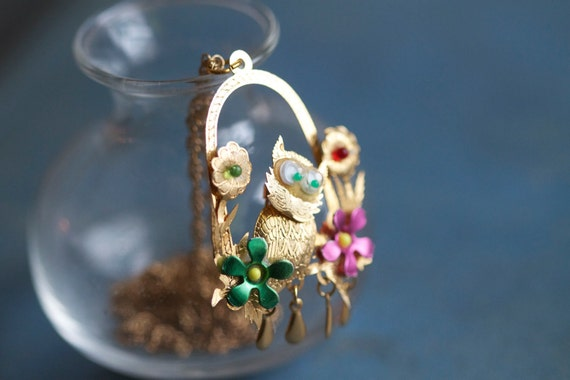 Colorful Owl Pendant on Golden Chain Necklace