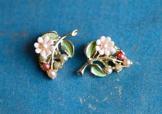 Dainty Flower Bouquet -  Clip on Earrings