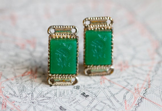 Vintage Green Glass and Gold  Clip on Earrings with Greek Motiff