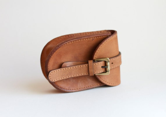Small Vintage Leather Pouch with Slot for a Belt