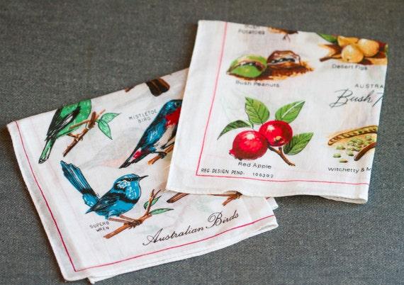 Cute Vintage Birds and Fruits Handkerchiefs - Souvenir from Australia