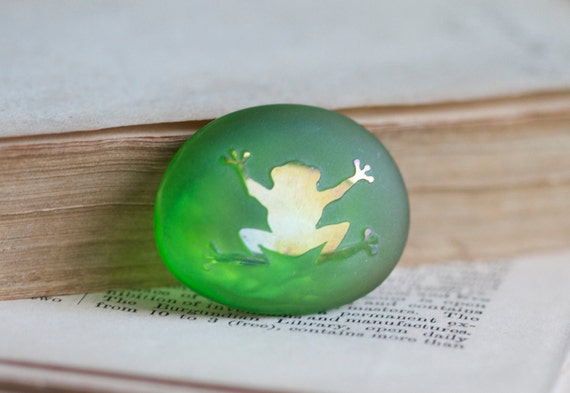 Tiny Shinny Frog on a Green Frosty Glass Stone Pebble