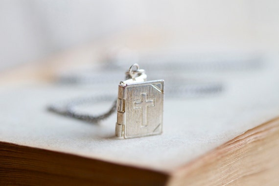 Tiny Weenie Bible locket - Vintage Silvery Pendant on Chain - Religious Necklace