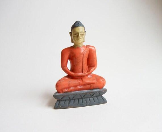 Orange Buddha Small Wooden Statue