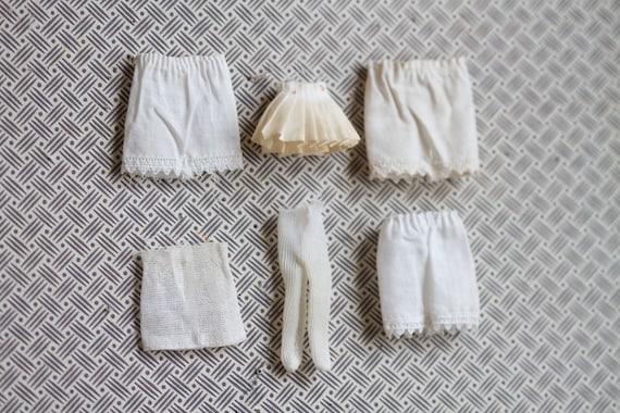 Miniature Tattered Panties tights and Underskirt- Antique Dolls Underwear - Instant Collection