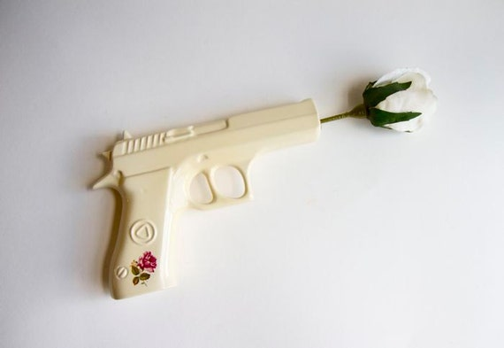 Bang Bang - Ceramic Gun Shaped Flower Vase Wall Hanging Beige Handgun with Rose