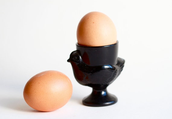 Vintage French Egg Cup in Black Glass