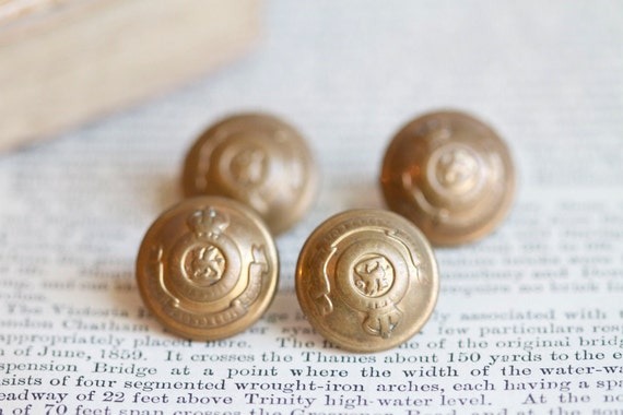 Antique Military Brass Buttons - Set of 4