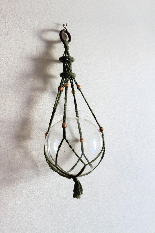 vintage macrame flower pot holder hanger olive green with