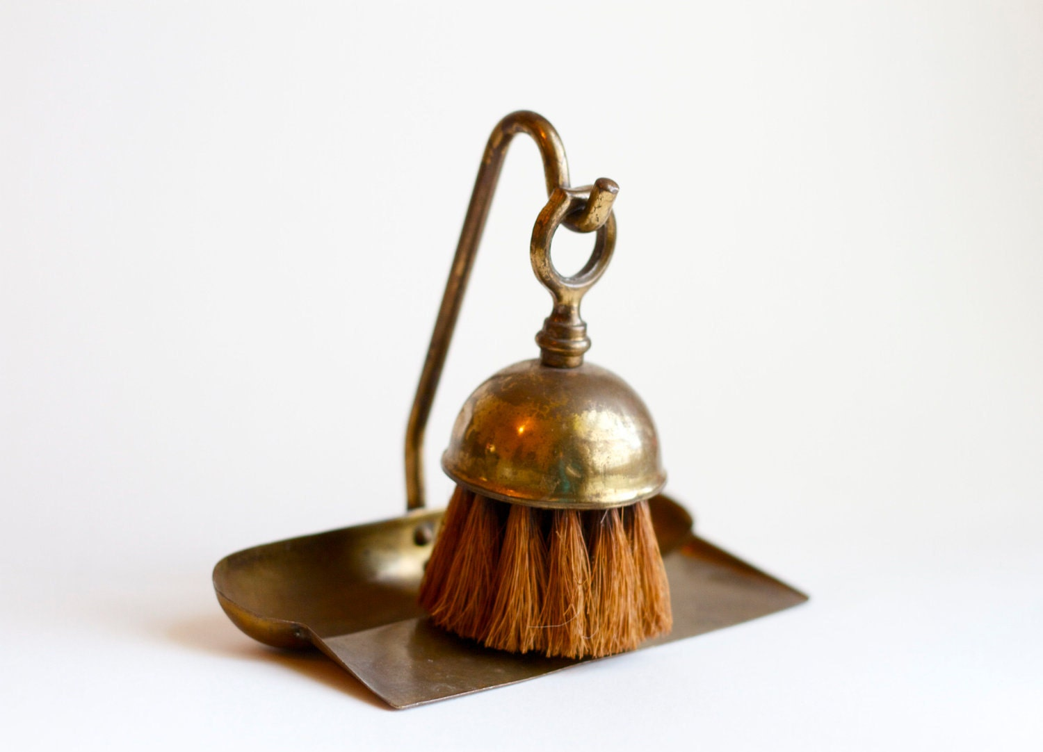 Small Antique Brass Dust Pan And Broom Brush Fire Place