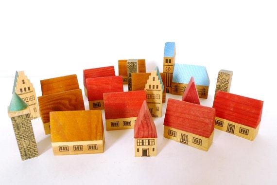 Miniature Wooden Village - Vintage Wooden Toy