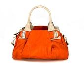 vegan leather handbag purse orange and light cream  -.- the Flynn -.- 25% launch discount