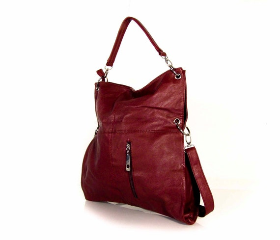 Handmade vegan leather handbag purse  dark red -.-  the Jarlath -.-  40% sale