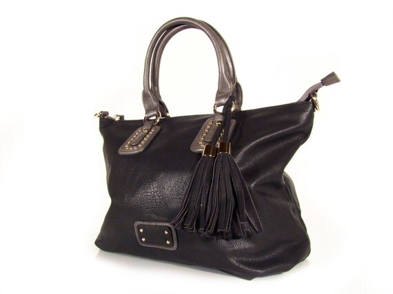 Handmade vegan leather handbag purse black - the Roisin  - 25%  launch discount