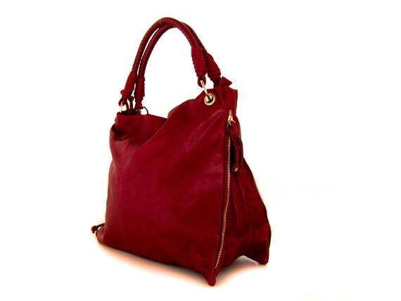 vegan leather handbag purse deep red - the Katellig -  25%  sale
