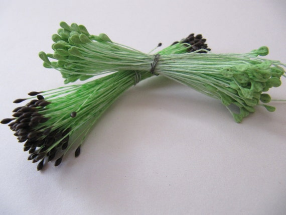 Vintage green Floral stamens, double ended stamens, green black millinery pips,  Ribbonwork, Floral projects, mixed media