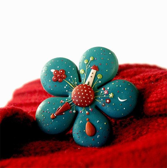 RESERVED for chiianjocelyn. Starry Night. Unique hand made polymer clay brooch. Made to order