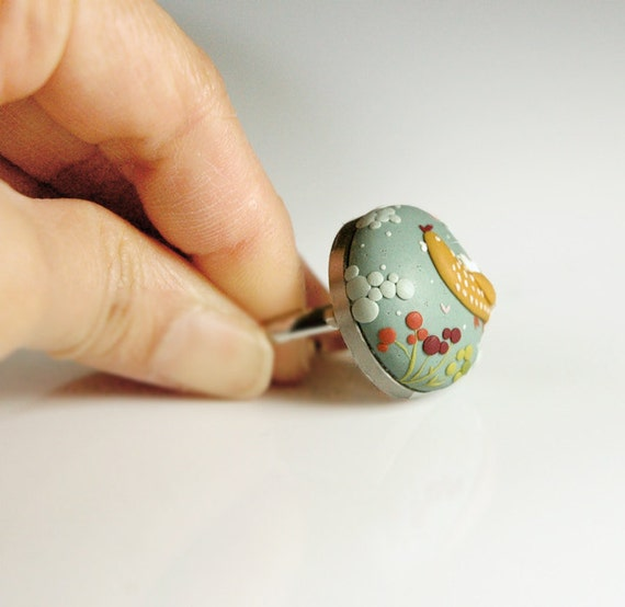 RESERVED for Godzilla811. A Ride with Mom. Whimsical handmade polymer clay ring