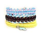 Single wrap bracelet - Bohemian Gypsy style - Hand embroidered leather wrap bracelet - blue Czech glass beads on cream leather