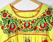 Mexican dress Hand embroidered Vintage 70s Bohemian style  maxi tunic Oaxacan Hippie embroidery One of a Kind - ON SALE