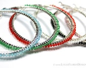 Wire wrapped earrings - beaded hoops - Czech crystals on 60mm silver hoop
