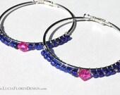 Wire wrapped earrings - beaded hoops - Blue Czech glass & pink Swarovski crystals on 60mm silver hoop