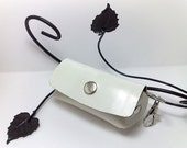 Handmade white patent genuine leather mini bag/ key  chain / wallet / clutch / pouch / purse gift cute fun