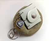 Handmade mini book-journal /  key chain/ (or necklace) made from white patent genuine leather  OOAK paper blue