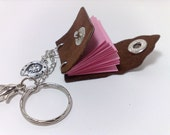 Handmade mini book-journal /  key chain/ (or necklace) brown genuine leather OOAK heart pink paper