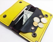 Handmade black and yellow cowhide leather wallet for all iPhone/4S with coin purse leather in handmade cell phone case cards cash coin purse