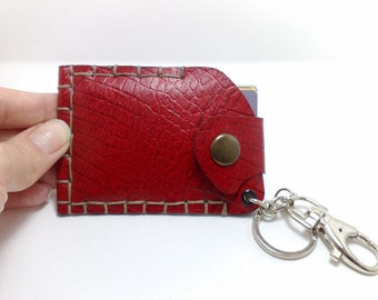 Handmade red patent genuine leather Handcrafted card holder / Wallet / key chain/ purse crocodile effect 100% leather ooak gift ideas