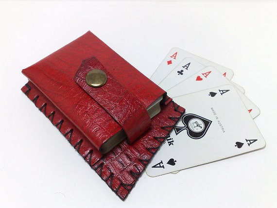Sale Leather Playing Card Case Hand stitched red 100% genuine leather crocodile effect and black waxed thread poker man free monogramming